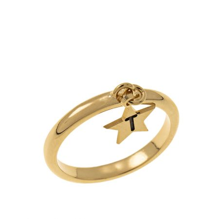 Initial Star Charm Ring