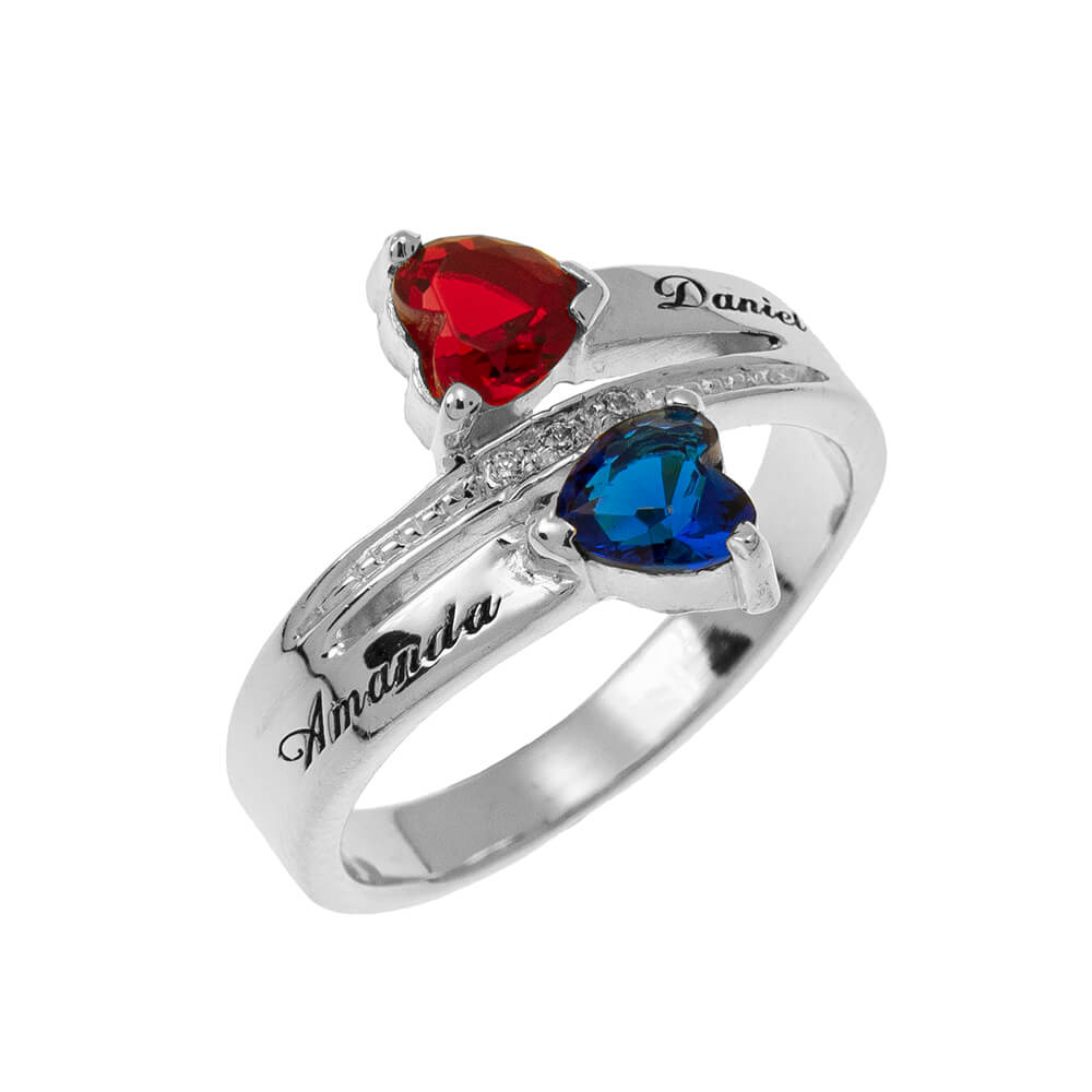Inlay Double Heart Birthstone Promise Ring silver