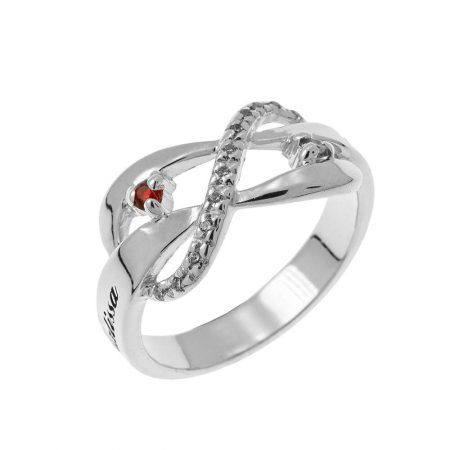 Inlay Infinity Ring with Birthstones