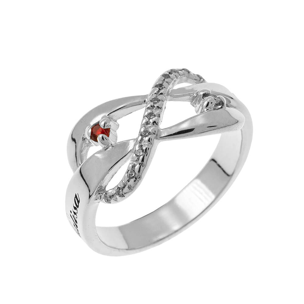 Inlay Infinity Ring with Birthstones silver