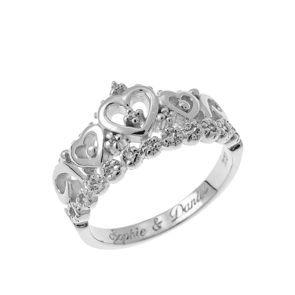 Inner Engraving Crown Ring silver