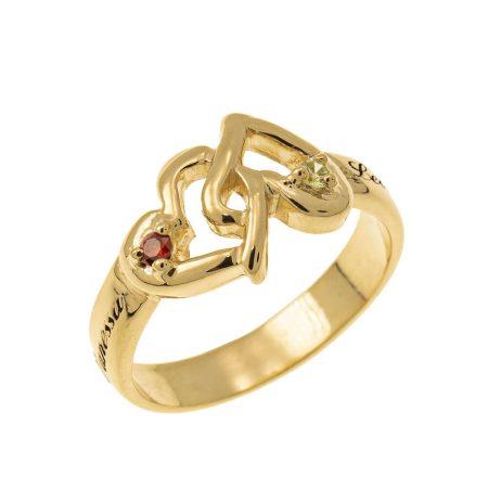 Interlocking Birthstones Hearts Ring