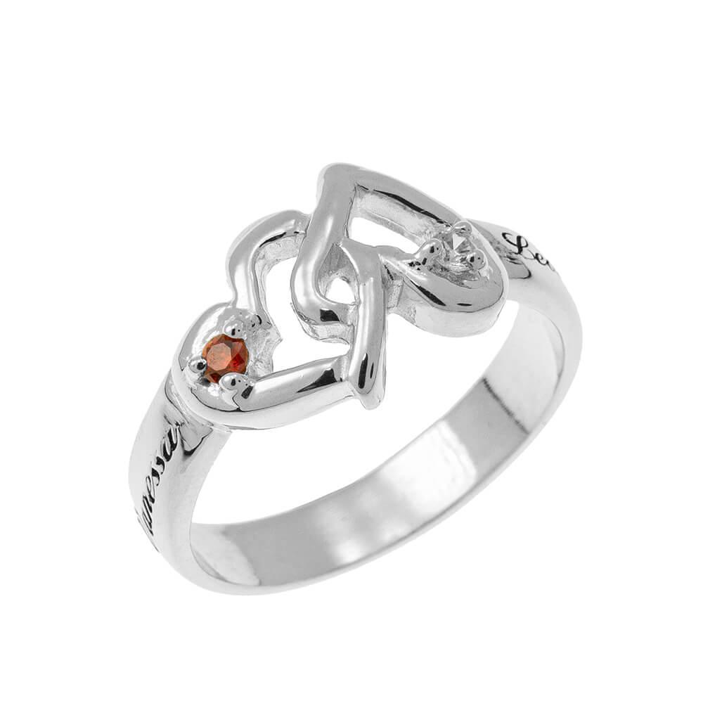 Interlocking Birthstones Hearts Ring silver 1