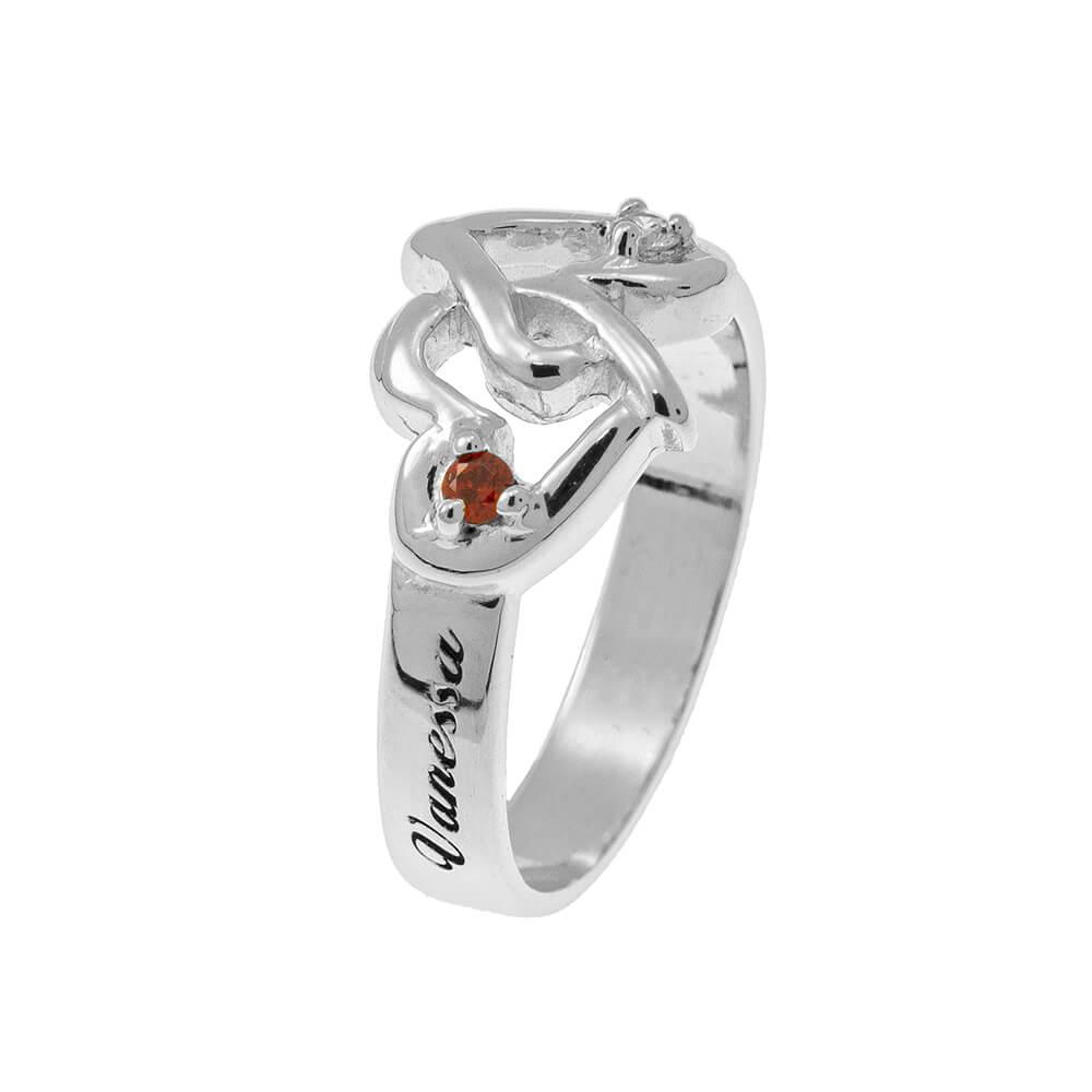 Interlocking Birthstones Hearts Ring silver