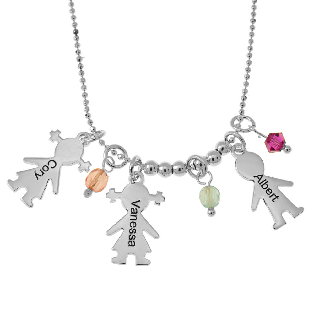 Kids Charms and Birthstones Necklace silver
