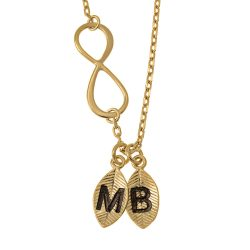 Lovers Infinity Necklace with Leaves gold