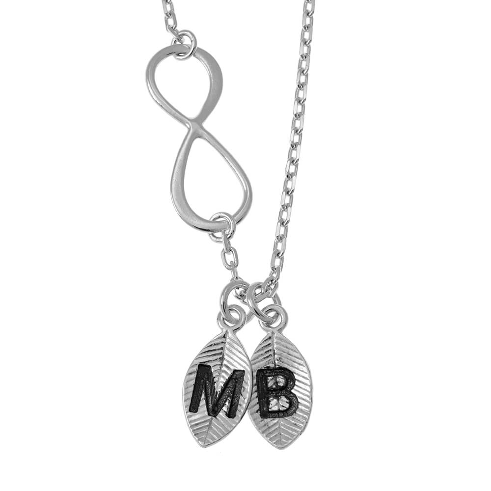 Lovers Infinity Necklace with Leaves silver