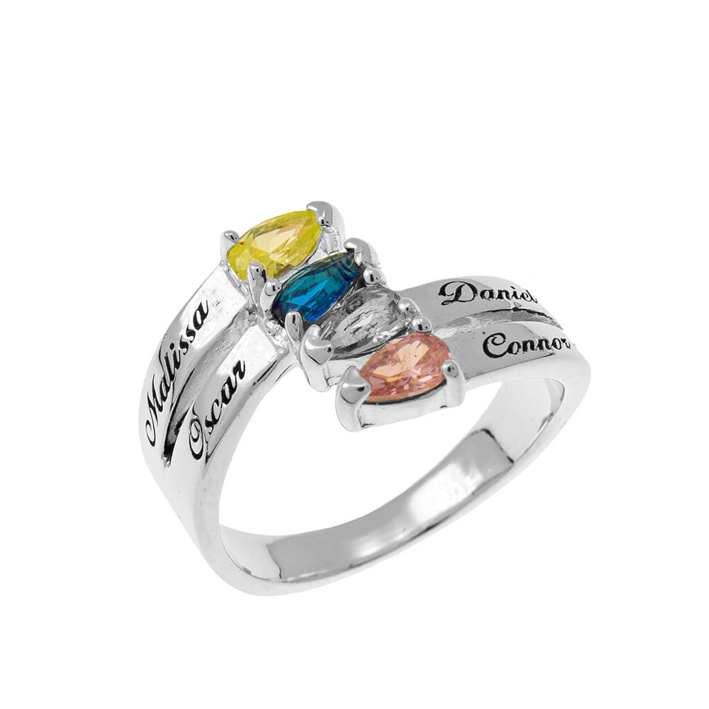 Mothers' Ring with four Birthstones silver