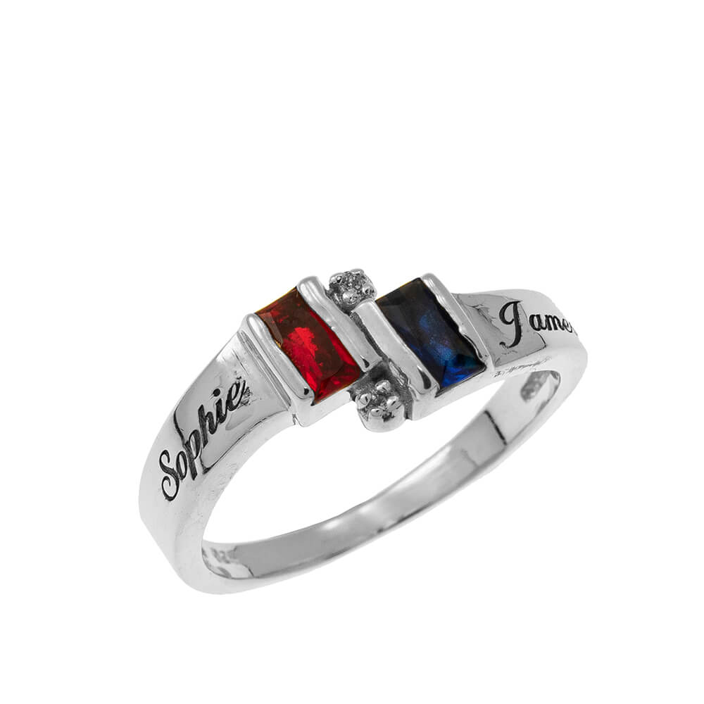 Personalised Birthstone Promise Ring silver