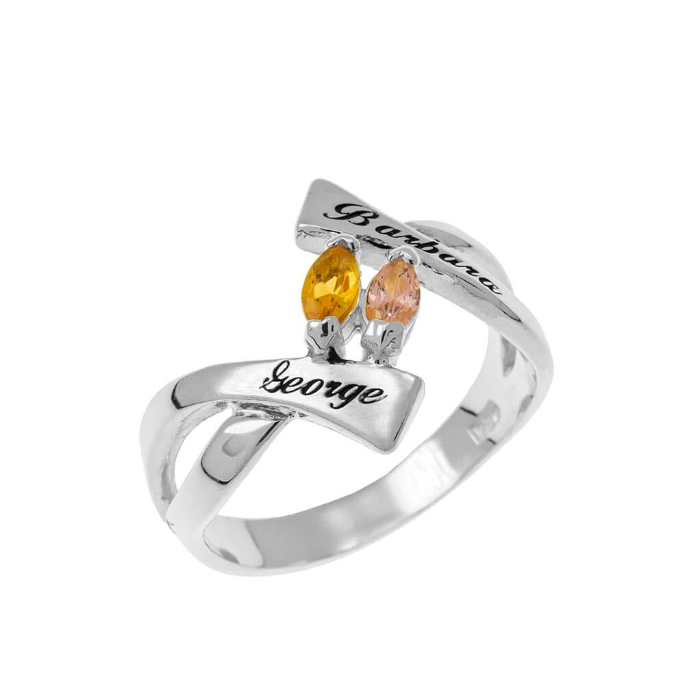Personalised Birthstones Ring silver