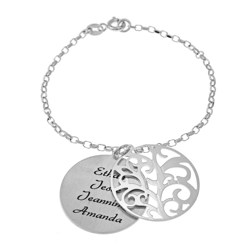 Personalised Double Layer Family Tree Bracelet silver