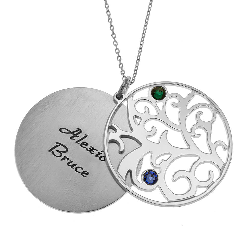 Personalised Double Layer Family Tree Necklace 2 names silver