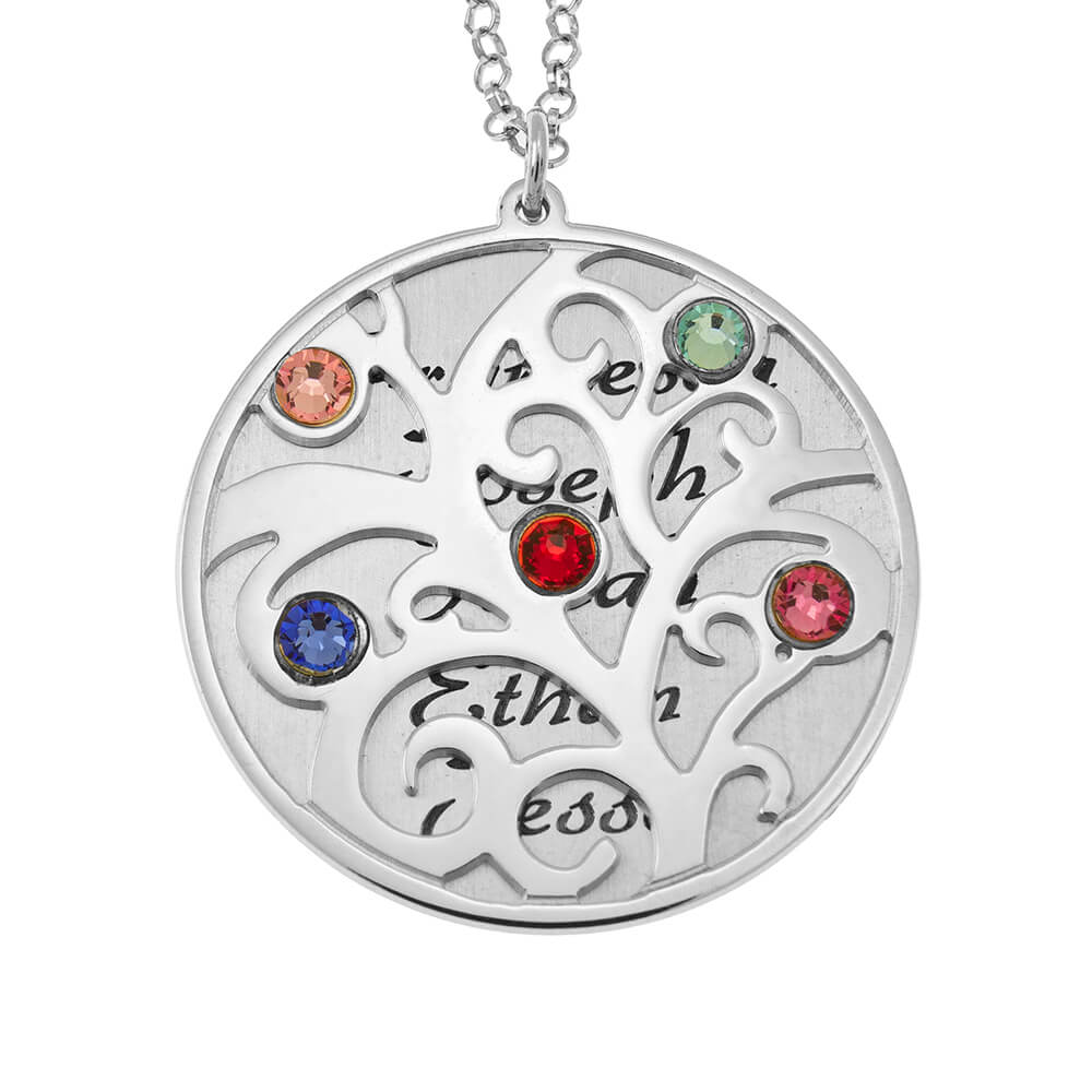 Personalised Double Layer Family Tree Necklace silver