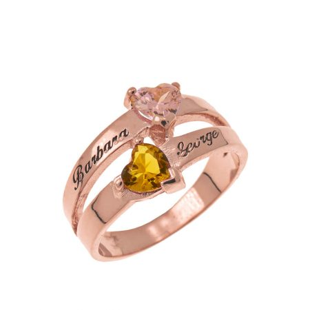 Personalised Heart-Shaped Birthstone Ring