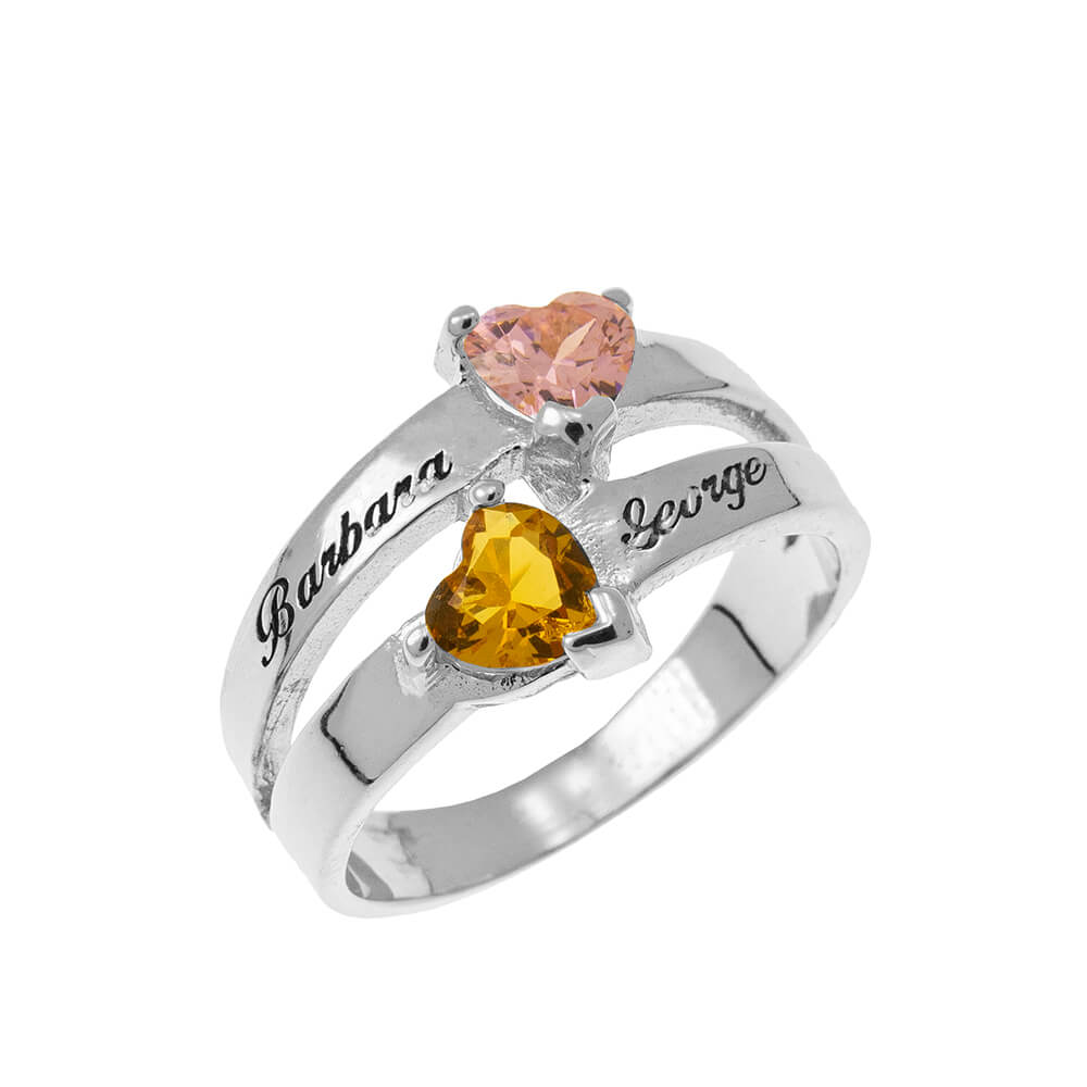 Personalised Heart-Shaped Birthstone Ring silver