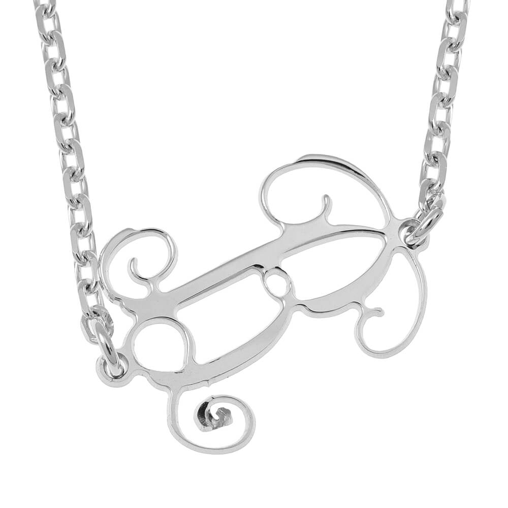 Sideways Initial Monogram Necklace silver