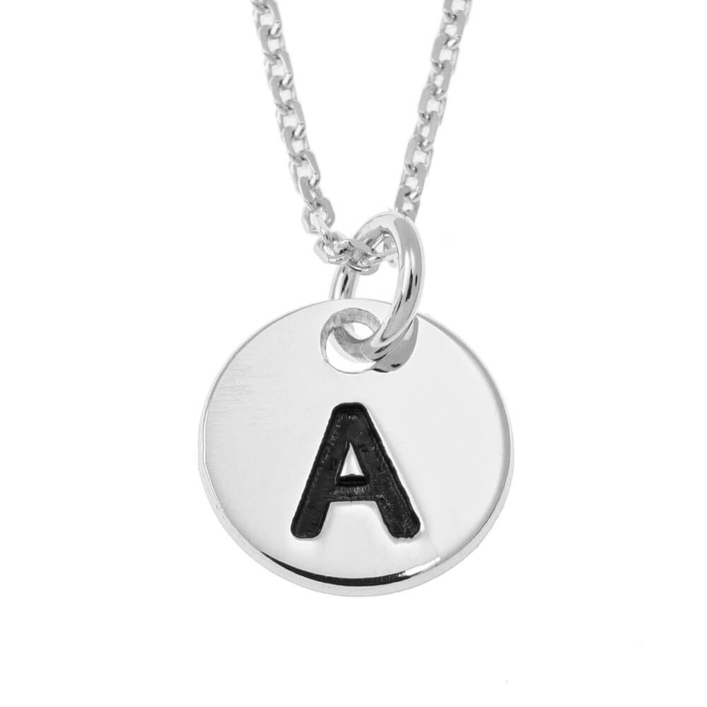 Small Initial Disc Necklace silver