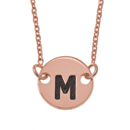Small Initial Disc Pendant Necklace