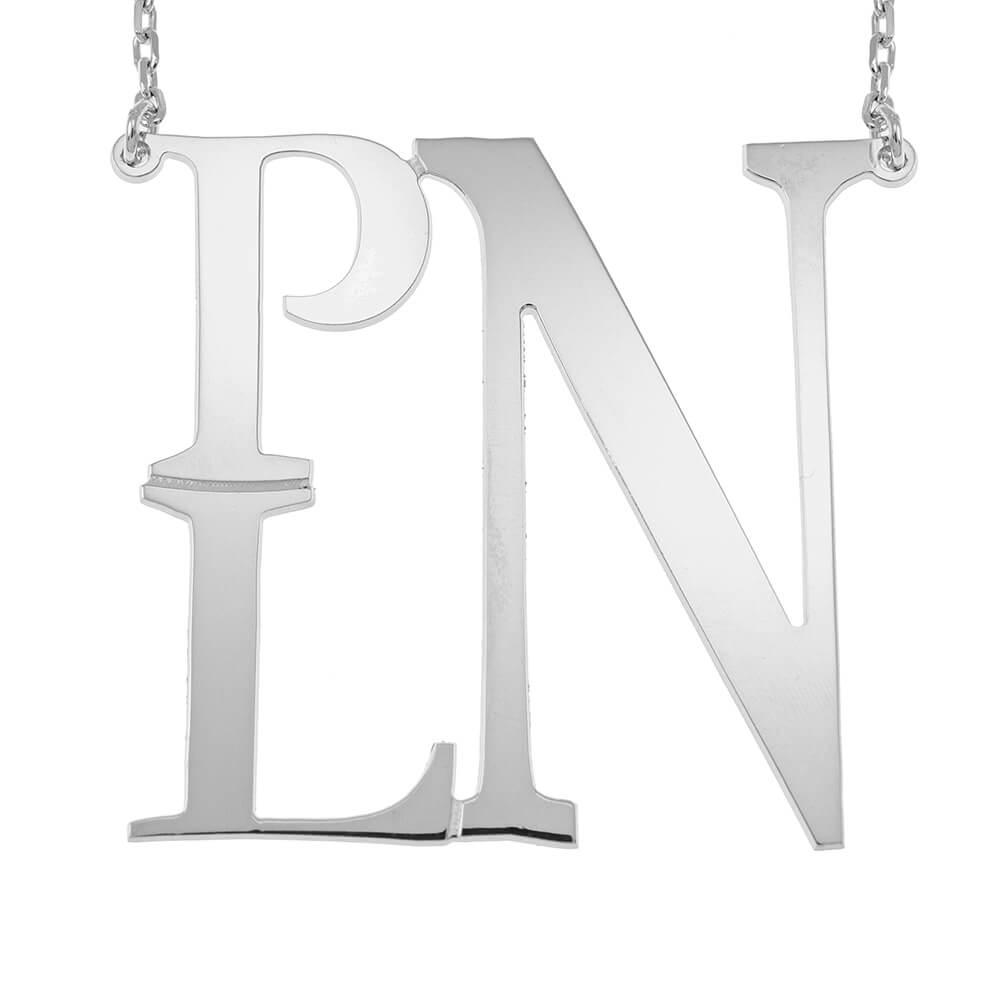 Square Monogram Necklace silver
