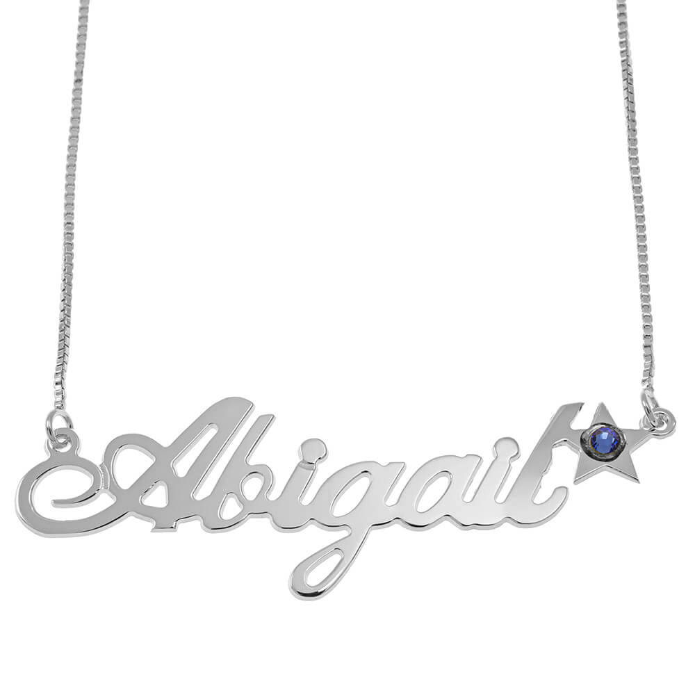 Star Classic Box Name Necklace silver