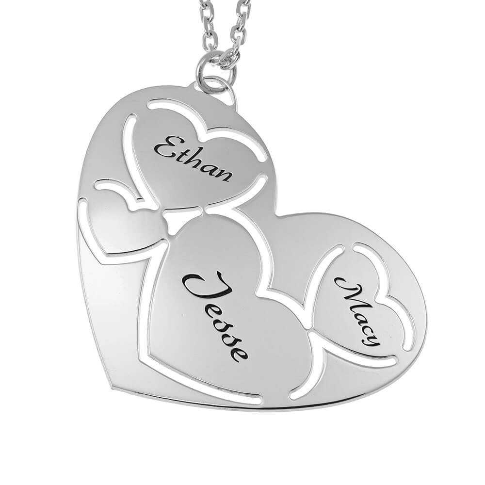 Three Names in Heart Necklace silver