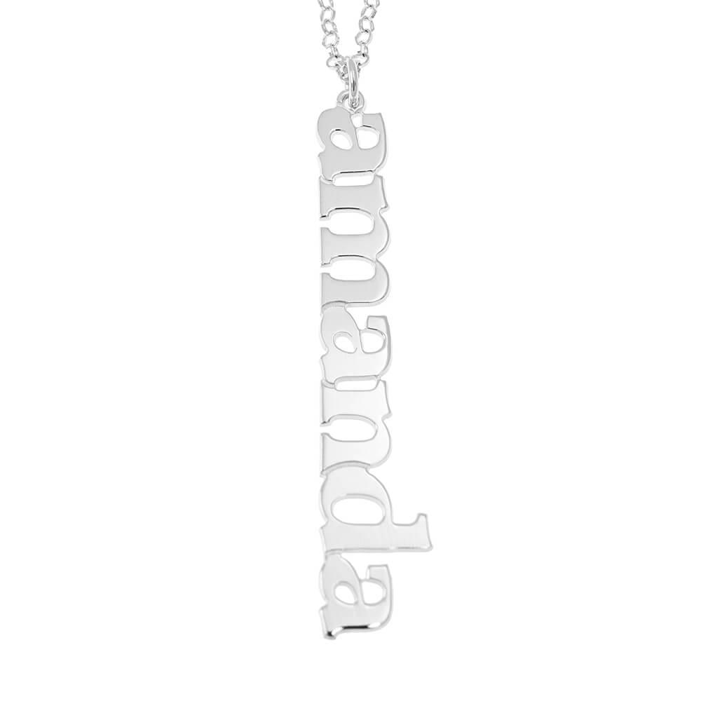Vertical Design Name Necklace silver