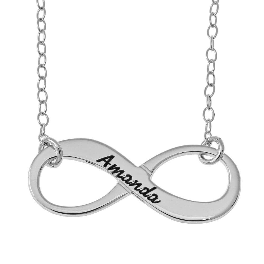 Vintage Name Infinity Necklace silver