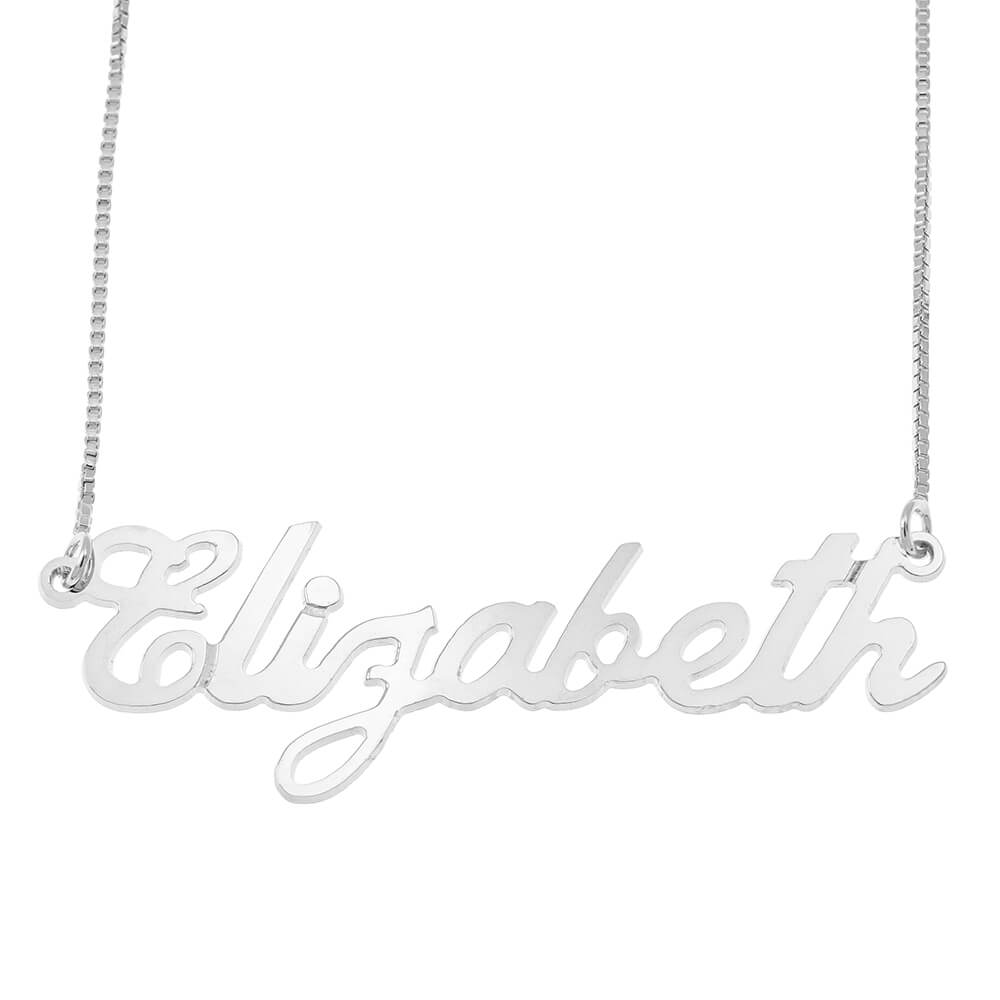 Carrie Style Box Name Necklace silver