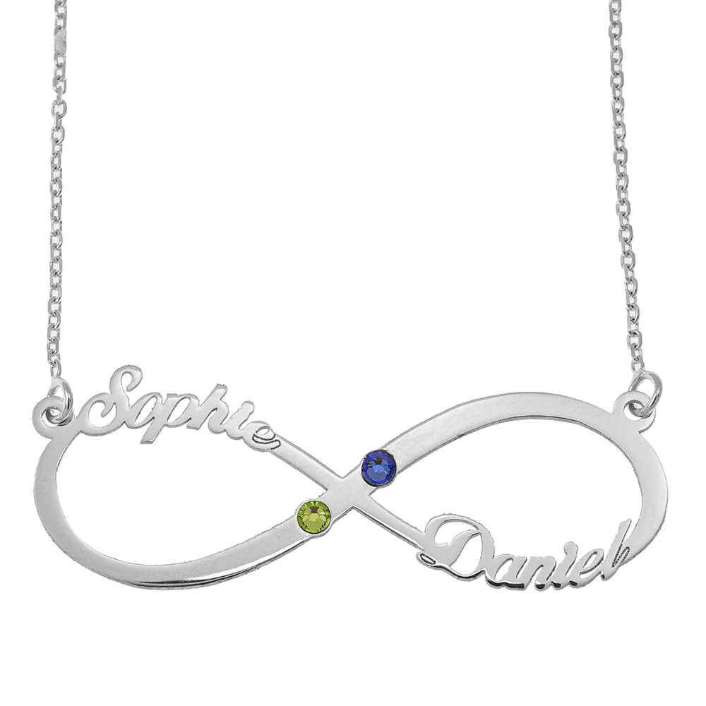 Infinity Cut Out Name Necklace with Birthstones silver
