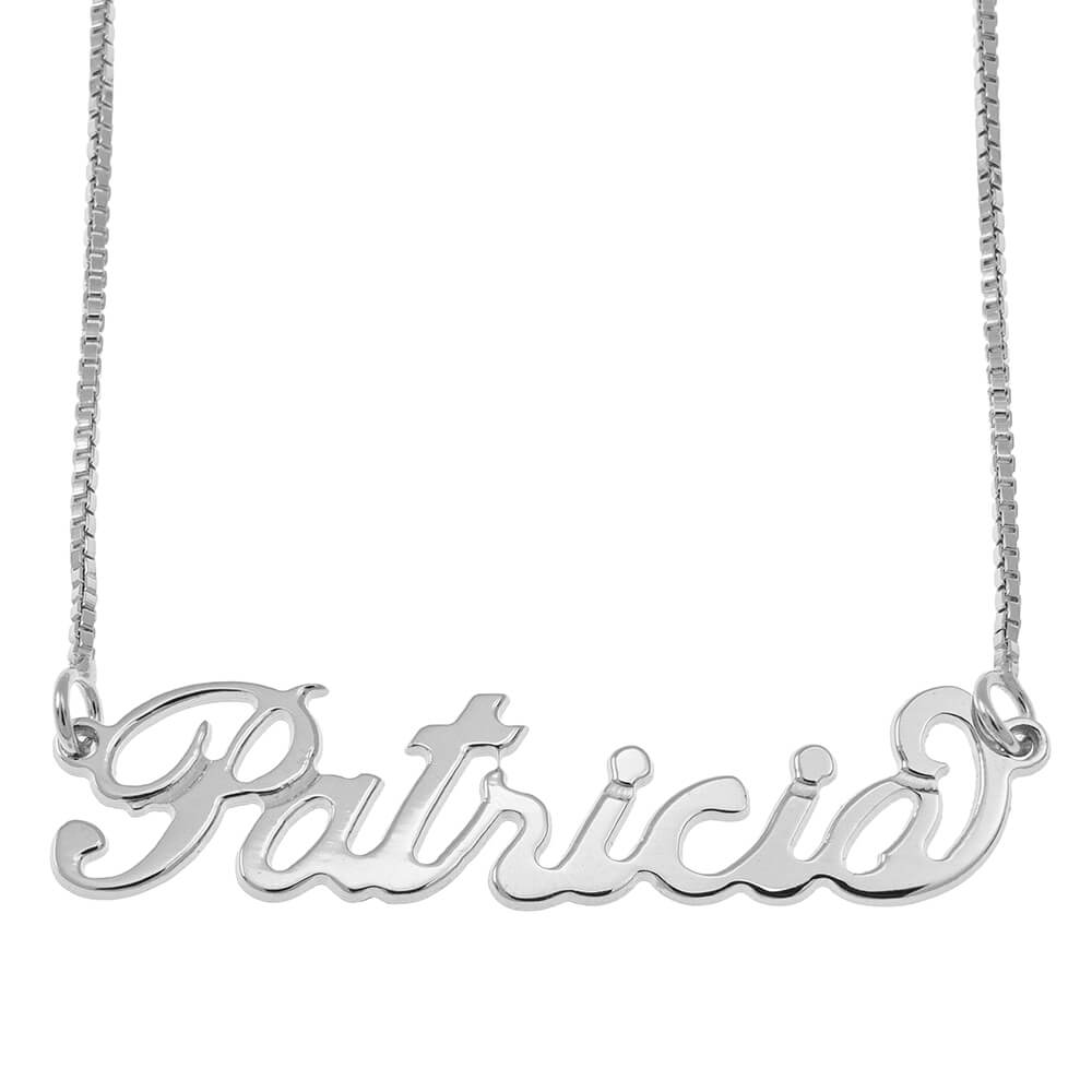 Small Carrie Name Necklace with Box Chain silver