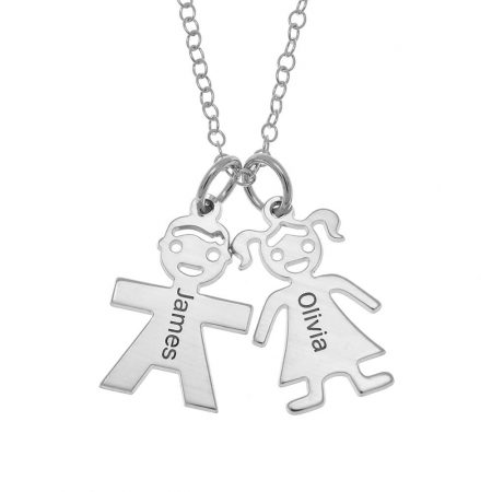 Horizontal Mother's Necklace with Kids