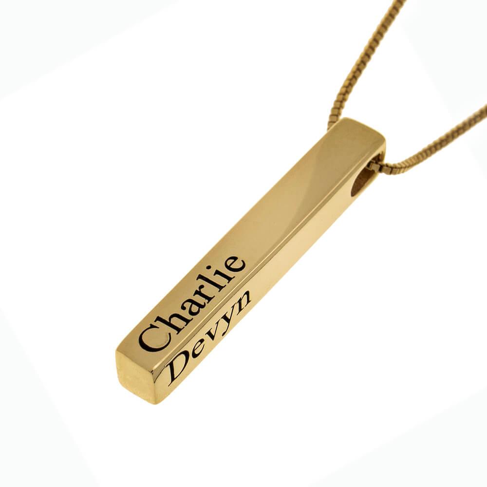 4 Names 3D Bar Necklace gold