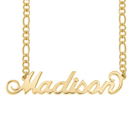 Carrie Name Necklace with Figaro Chain