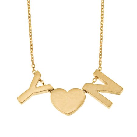 Chunky Initials Heart Necklace
