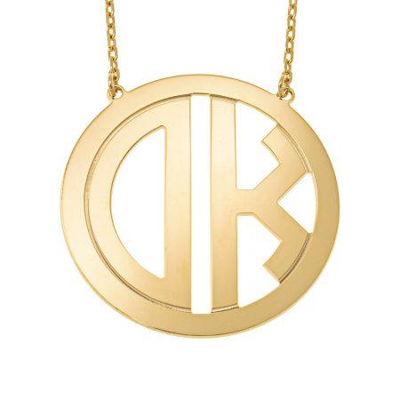 Circle Block Monogram Necklace