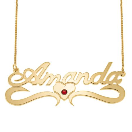Classic Middle Heart Box Name Necklace with Birthstone