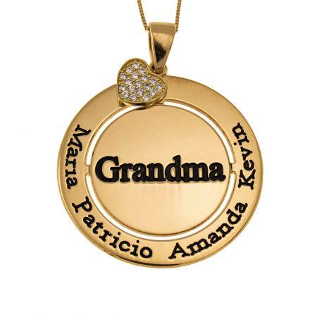Circular Grandma necklace with sparkling Inlay Heart