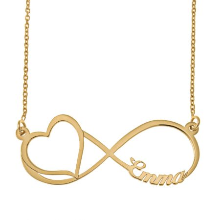 Engraved Infinity Name Necklace with Cut Out Heart