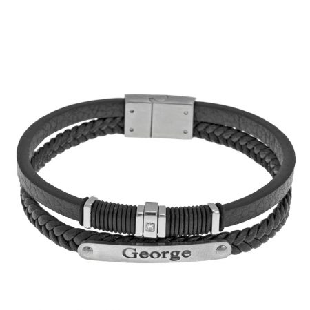 Inlay Black Leather Layers Bracelet