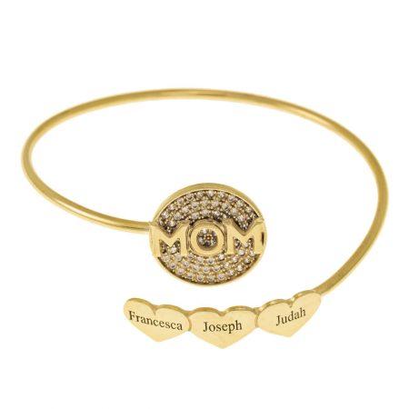Inlay Mum Flex Bracelet With Hearts