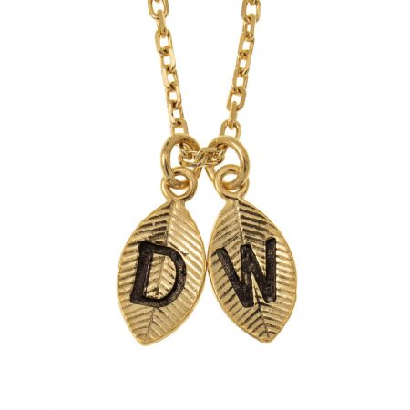 Leaves Initial Charm Necklace