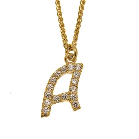 Small Sparkling Initial Necklace
