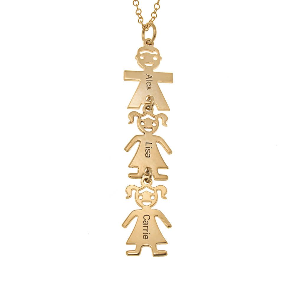 Vertical-Mother's-Necklace-with-Kids-gold
