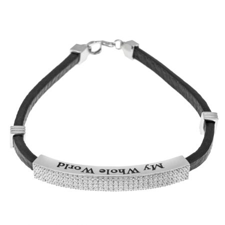 White Zircon Inlay Leather Bracelet for Men