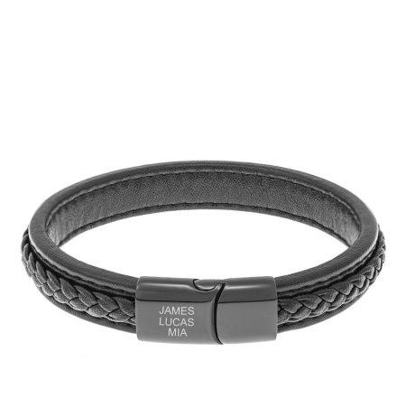 Black Leather Bracelet for Men with White Engravings