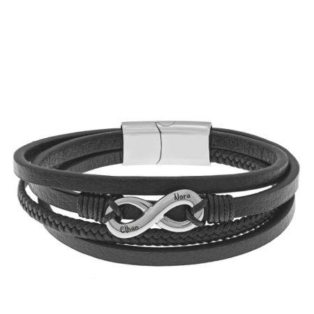 Black Leather & Stainless Steel Infinity Bracelet for Men