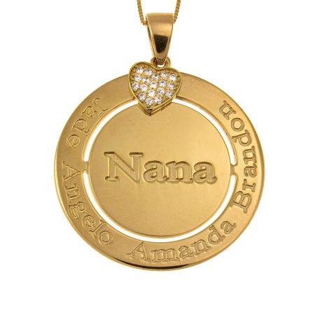 Engraved Circle Nana Necklace with Inlay Heart
