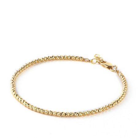 Gold Diamond Laser Cut Ball Beads Bracelet