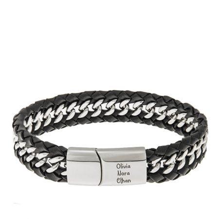 Leather & Interlaced Stainless Steel Bracelet for Men