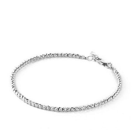Silver Diamond Laser Cut Ball Beads Bracelet